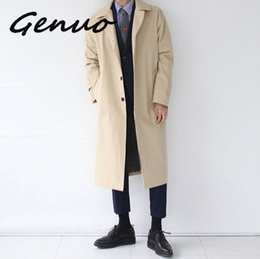 estilo de japão estilo japão Desconto Estilo japonês Mens Trench Coat 2019 Designer de Moda Longo Blusão Outono Inverno Único Breasted Casaco À Prova de Vento Plus Size