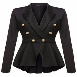2019 ropa de carrera de damas Blazer de las mujeres con muesca de doble botonadura de manga larga chaqueta formal delgada Office Lady ropa de trabajo capa de la carrera femenina ropa de carrera de damas baratos