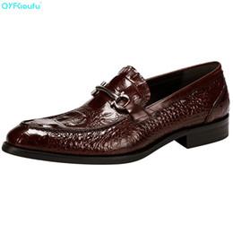 1ed2ae129 QYFCIOUFU Fashion Mens Designer Shoes Oxford Genuine Leather Shoe Formal  High Quality Crocodile Pattern Party Dress Shoe discount crocodile dress  shoes men