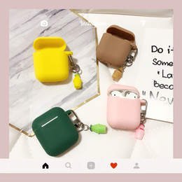 bluetooth amarillo Rebajas Lindo verde amarillo rosado marrón botella de leche llavero caja del auricular bluetooth inalámbrico para airpods cubierta protectora llavero