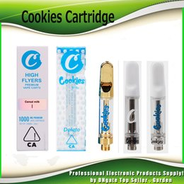 cookie stickers Coupons - New Cookies Vape Carts Cartridge With Packaging Box 0.8ml 1.0ml Ceramic Coil Gold Tank 510 Thick Oil Atomizer With 11 Flavors Stickers
