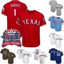 Texas baseball online-# 12 Angerüchteter Geruch Jersey Letzte Saison Texas 1 Elvis Andrus 8 Juan Centeno 17 Shin-Soo Choo 29 Adrian Beltre Rangers-Baseball-Trikots