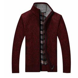 Argentina Hombre de la marca Otoño Invierno Suéteres gruesos Elegante Casual Hombre Ropa de abrigo Zip Cardigan Suéter de algodón Suave cheap zip neck sweater men Suministro