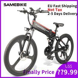 baterías de europa Rebajas [Europa NOTTAX] Neumático de 26 pulgadas Samebike LO26 Bicicleta eléctrica plegable inteligente 350W Motor ebike 10Ah Batería Máx. 35 km / h Bicicleta eléctrica