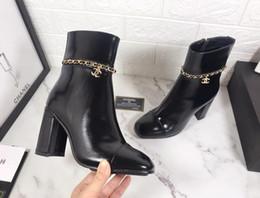 Talons bas en Ligne-2019F édition limitée luxe low cut ladies bottes mode sauvage bottes à talons hauts en cuir dames Martin bottes emballage d'origine
