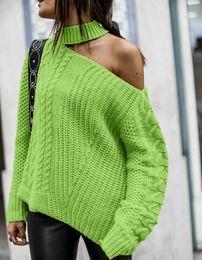 verde maglione spalla Sconti DOLCEVITA invernali donne spesse verdi Maglioni una spalla Pullover Maglione fuori maglioni spalla Col Roul Femme