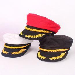 Tapa del barco online-Sailor Ship Boat Captain Hat Navy Marines Admiral Cap Hat Sombrero de uniforme de oro blanco Sombreros para niños adultos Fiesta de disfraces Cap Halloween HH9-2341