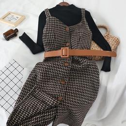 2019 vestidos de lã de trabalho de lã Primavera Inverno vestido mulheres elegantes Suit Knitting Lã manga comprida Magro vestido formal do partido Office Lady Trabalho vestidos de lã de trabalho de lã barato