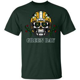 Uomo verde casco online-Casco da football Green Bay Sugar Skull Halloween TShirt Nero Uomo