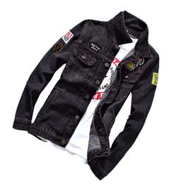 chaqueta de mezclilla de la universidad Rebajas Nice Denim Jacket Men College Outwear Jeans Chaqueta y abrigos estilo coreano