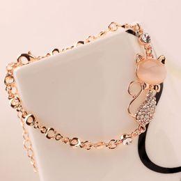 corsage armbänder großhandel Rabatt Schöne katze anhänger armreif frauen damen elegante kristall opale strass armreif edelstahl schmuck zubehör