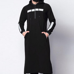 vestiti musulmani islamici Sconti Litthing 2019 New Men's Arab Arabian Strap Full Length Hooded Kaftan Traditional Muslim Abaya Islamic Male Casual Abbigliamento