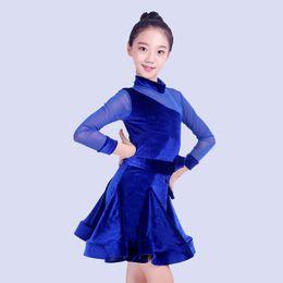 Kinder Latin Dance Kostüm Langarm Blau / Rot Latin Trainingskleidung Turnierkleider Rumba / Tango Outfit DQL1323 von Fabrikanten
