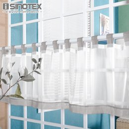 armários de cozinha azul Desconto Home Textile Half Bordado Sólidos janela Valance Customize Coffee Roman Tulle Cortina Painel Drape guia Fita para o armário de cozinha
