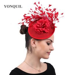 Chapeaux de mariage vintage pour femmes en Ligne-Vintage derby kenducky chapeau fascinateurs femmes chapeau dames élégantes partie de mariage église bandeau avec fleur chapellerie fedora