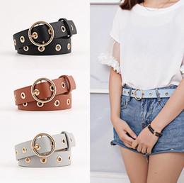 Wholesale Moda Daire Pin Toka Kemer PU Bel Bandı Ayarlanabilir Grommets Charm Kemer Kadınlar Için Kot Şort Pantolon Askıları Dekor kızlar