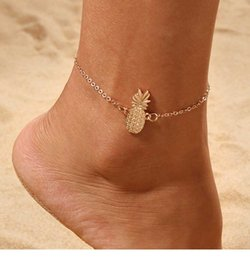 cute foot chain Promo Codes - Luxury Gold Plated Ankle Bracelets Cute Pineapple Women Anklet Lobster Clasp Foot Chain Summer Beach Designer Jewelry Top Fashion