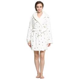 Abiti di lana online-Lavenderi Accappatoio da donna con cappuccio in peluche
