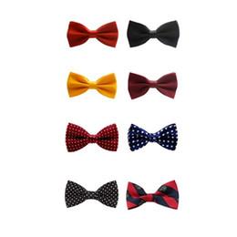 Vestito nero in cravatta nera online-Classico Kid Bowtie Boys Grils Neonato Bow Tie Moda tinta unita British Black And Red Suits Bow Tie