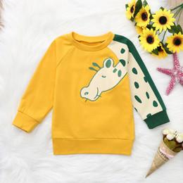 6e68625e0d8c2 2019 sweat-shirt jaune bébé Dessin animé girafe impression enfant en bas  âge nourrisson bébé