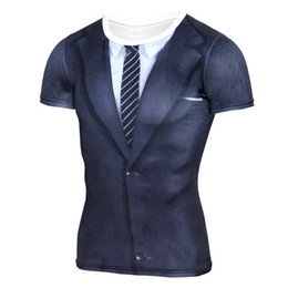 Vendita calda 3d T Shirt uomo vestito falso uniforme stampa manica corta camicia di compressione pelle stretta O-Collo casual divertente magliette top cheap hot tight suit men da gli uomini caldi di vestito stretto fornitori