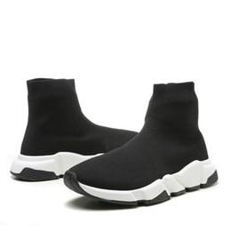 appartements tricotés Promotion 2019 chaussures d'entraînement de bottes hautes en tricot noir Speed Trainer, bottes de mode plates noires triples, avec taille de boîte36-46