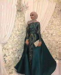 cetim caftan Desconto Hunter verde sereia vestidos de noite com trem destacável 2019 applique lantejoulas kaftan muçulmano caftan abaya dubai prom vestido formal