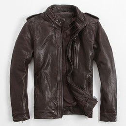 xxxl herren leder mäntel Rabatt 2017 Mens Brown Leather Biker Jacket Stehkragen plus Größe XXXL Slim Fit-Mann-Winter Dicken Leder Motorrad-Mantel FREIES VERSCHIFFEN
