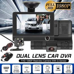 Lente de zoom de vídeo online-Original 4 '' HD 1080P 3 Lens Car DVR Dash Cam Vehículo Grabador de video Cámara de vista trasera 170 ° Envío gratis