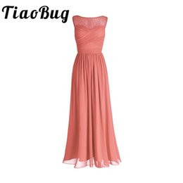 Tiaobug Coral Apricot Women Ladies Chiffon Lace Bridesmaid Dress Long Prom Gown Plus Size Floor Length Party Bridesmaid Dresses SH190827