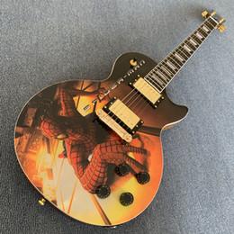 Гитара из красного дерева онлайн-Custom shop LP Guitar 1959 R9 Корпус из красного дерева, верх фанеры Spider-Man, золотая фурнитура, накладки из розового дерева190507