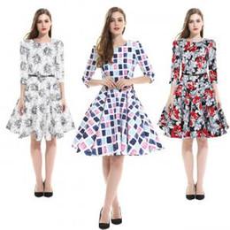 07e8c64b1 Vestido estampado floral de las mujeres Elegante O-cuello de la flor vestido  a cuadros Vestidos de media manga con cinturón Sin mangas hasta la rodilla  ...