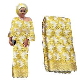 grano de nigeria amarillo Rebajas Tela africana de encaje de flora amarilla con cuentas Tela de encaje árabe nigeriano para la boda Bordado francés Tulle Material de encaje de gasa BF0031