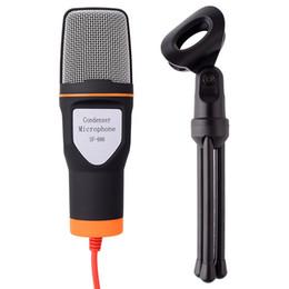 karaoke del microfono del mp3 Sconti 2019 Microfono professionale a condensatore stereo di alta qualità cablato con clip di supporto per la chat di MSN PC portatile karaoke SF - 666