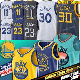 camisetas de guerreros Rebajas Stephen Curry 30 guerreros de New Jersey Golden State Klay Thompson 11 cosido jerseys del baloncesto Draymond 23 verde camisetas de baloncesto