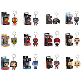 figuras pop Rebajas Funko pop Avengers Figuras de acción Juguetes Superhéroe iron Man Llavero niños Modelo de juguete llavero 13 estilos C6588
