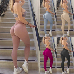 2019 más el tamaño de las polainas góticas Ropa de mujer Leggings para mujeres Slim Hip pantalones de yoga Sólido Hip levantamiento Leggings de gimnasio Cintura alta Push Up Leggings Slim Pants Mujeres Clubwear