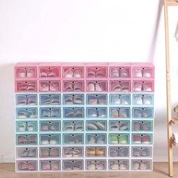 2019 scatola pieghevole di quadrato del tessuto Nuova scatola di immagazzinaggio di scarpa di plastica trasparente Scatola di scarpe giapponese addensato scatola di immagazzinaggio scarpa scatola flip organizzatore