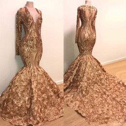 short gold sequin prom dresses Coupons - Sequins Applique Mermaid Evening Dresses 2020 Real Image Long Sleeve Gold Champagne 3D Rose Floral Bottom African Black Girl Prom Dress