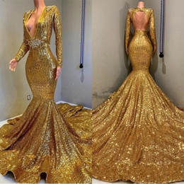 sexy long golden gown Promo Codes - 2019 Vintage Golden Long Sleeves Sequin Mermaid Prom Dresses Beaded Stones Backless Sweep Train Vestidos de Festa Party Evening Gowns BC0577