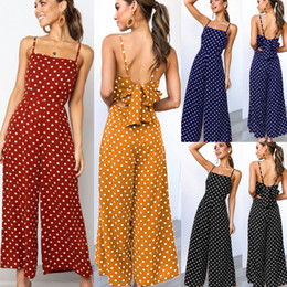 женщины Скидка 2019 Ladies Playsuit Party Wide Leg Jumpsuits Women Summer Sexy Sleeveless Backless Dot Black Jumpsuit