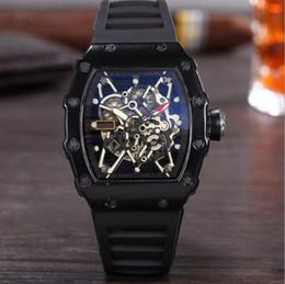 Relógio de pulso crânio on-line-RICHARD MILLE NEW RM de Alta Qualidade Dos Homens de Luxo Assista Esqueleto Da Cabeça Do Fantasma de Silicone Famosa Marca Relógios Crânio Esportes de Quartzo Oco relógios de Pulso