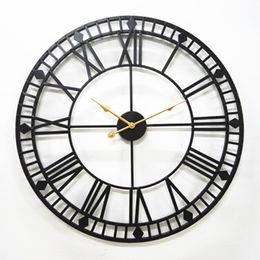 desserts roses Promotion 80 cm surdimensionné en métal Horloge murale moderne Style Design Antique Europe romaine Rusty Grande fer Horloges murales Suivre Art Home Decor
