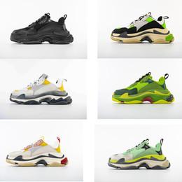 zapatillas de suela gruesa Rebajas 2018 Best Luxury Triple S Designer Low Sneakers Suela gruesa Speed Boots diseñador Hombres Mujeres Zapatos para correr marca personalizada S