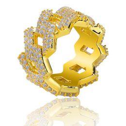 Iced Out Diamond Ring Мужчины Хип-Хоп Ювелирные Изделия Bling CZ Камень Хип-Хоп Золотые Кольца Дизайнер Мужские Свадебные Украшения cheap stones for jewellery от Поставщики камни для ювелирных изделий