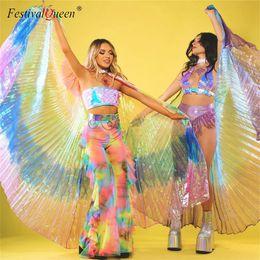 roupas orientais Desconto Mulheres Dança Do Ventre Isis Asas Design Oriental Translúcido Borboleta Asa Meninas Dança Asa Colorida Para Adereços Senhora Roupas
