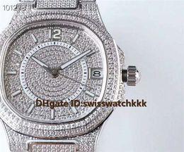 Senhoras relógios de prata on-line-Novo 7021 / 1G-001 mulher relógios Extra-Fino Suíço 324C Automático de Safira de Cristal Data de Exibição Platinum Full Diamond Caso relógios de Senhoras