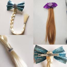 cabelo de princesa Desconto 2 estilos Snow Queen peruca meninas Princesa perucas trança presilhas de lantejoulas arco floco de grampos de cabelo para crianças vestir-se cosplay Acessórios M940