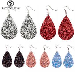 2019 Newe Varış Pu Deri Waterdrop Glitter Dangle Küpe Kadınlar için 16 Renkler Gözyaşı Gümüş Kaplama Kanca Bildirimi Küpe supplier new arrival statement earrings nereden yeni varış beyannamesi küpeler tedarikçiler