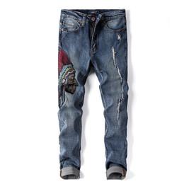 e06080332b6 2019 личность мужская черный портрет вышивка печати повседневные брюки  джинсы Локомотив беговые брюки модельер тонкий молния уличные брюки